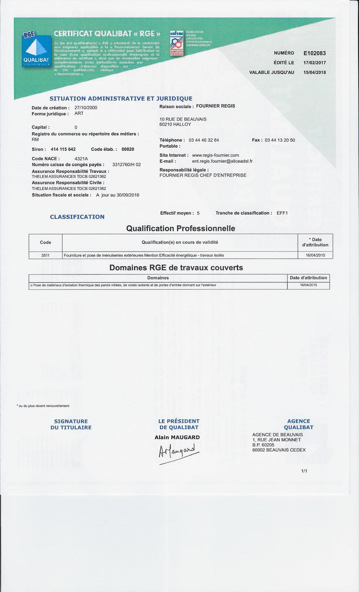 Certificat rge 2017
